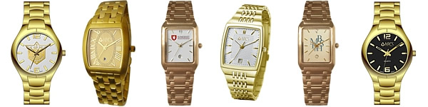 Stainless Steel Gold Logo Watches