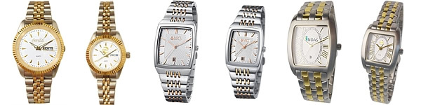 Stainless Steel Gold (2-Tone) Logo Watches for Men and Ladies